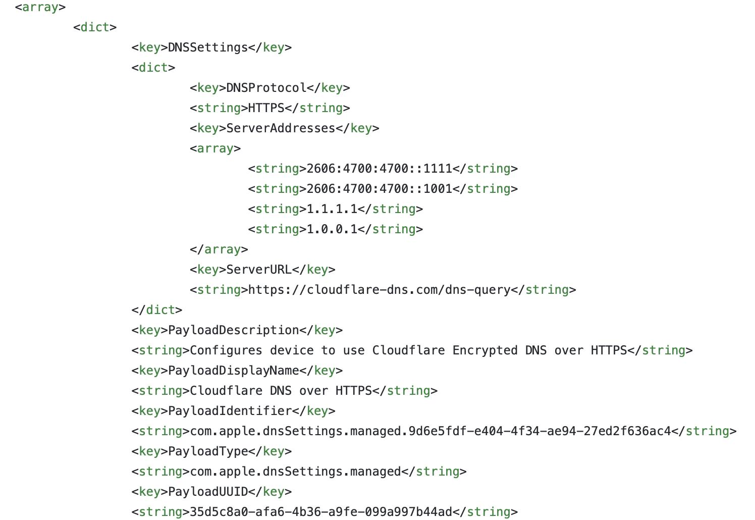 DoH mobileconfig screenshot