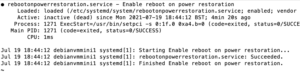 Screenshot of systemd status output