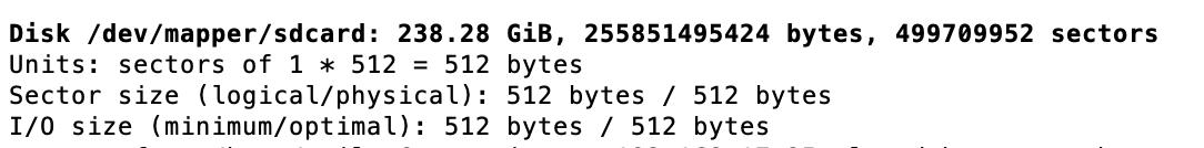 screenshot of fdisk output