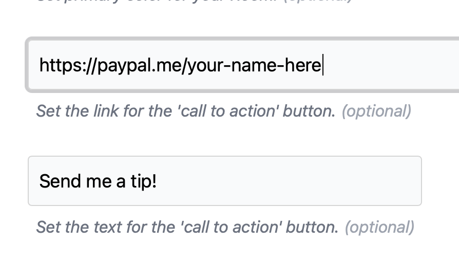 screenshot of call to action button